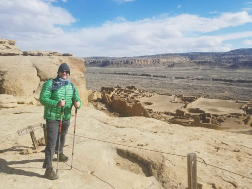 Chaco Canyon Pueblo Bonito Overlook End of Trail Sign Roped off